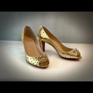 Christian Louboutin Gold Spiked Open Toe Pump